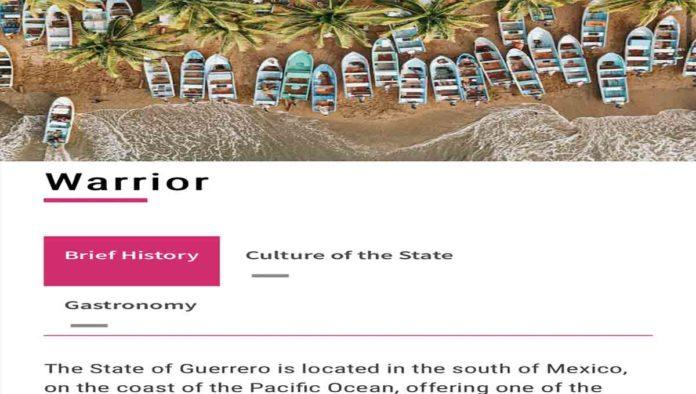 El estado de Warrior y el english de Visit Mexico