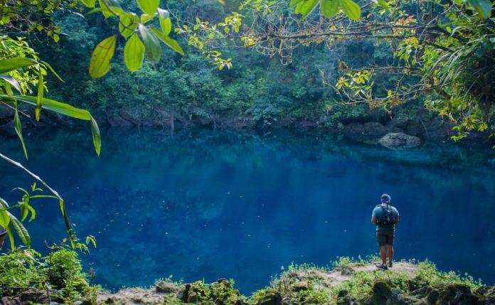 Cenote manatí, un paraíso azul eléctrico que converge con el mar