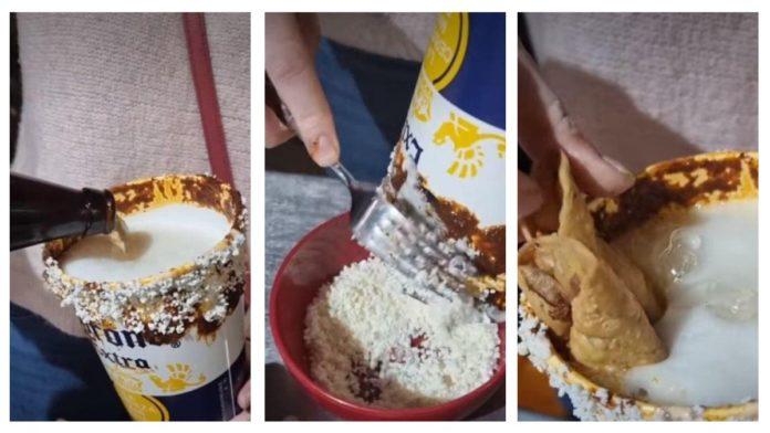 VIDEO: Crean micheladas con mole y flautas de pollo en algún lugar de la CDMX y desata polémica