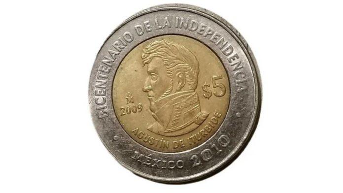 moneda 5 pesos de agustín de iturbide
