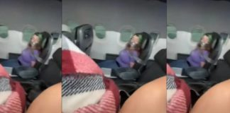 mujer amarrada en aviónFo