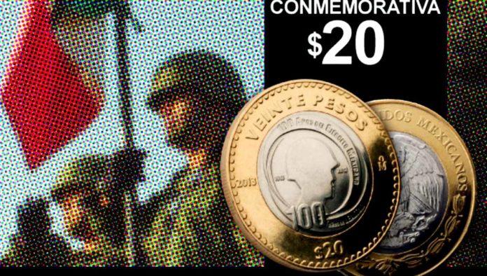 tres monedas conmemorativas de 20 pesos